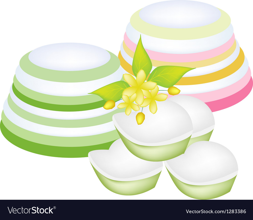 Colorful Thai Layer Jelly on White Background vector image