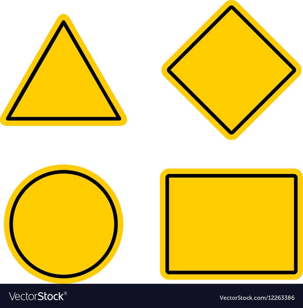 Empty warning sign templates set