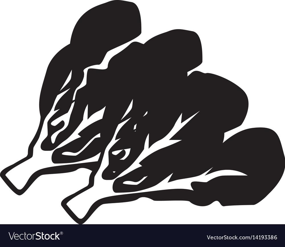 Flat black kale icon vector image