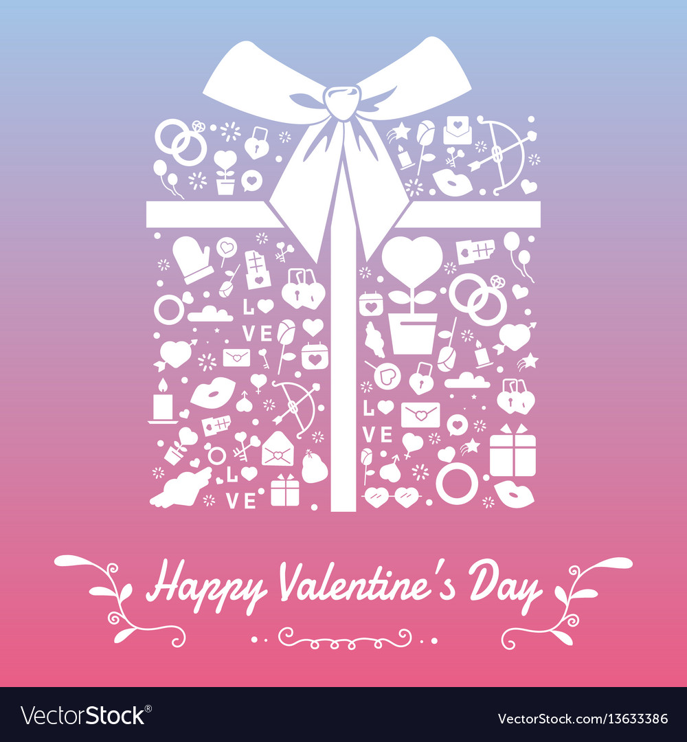 Happy valentines day with symbols template of