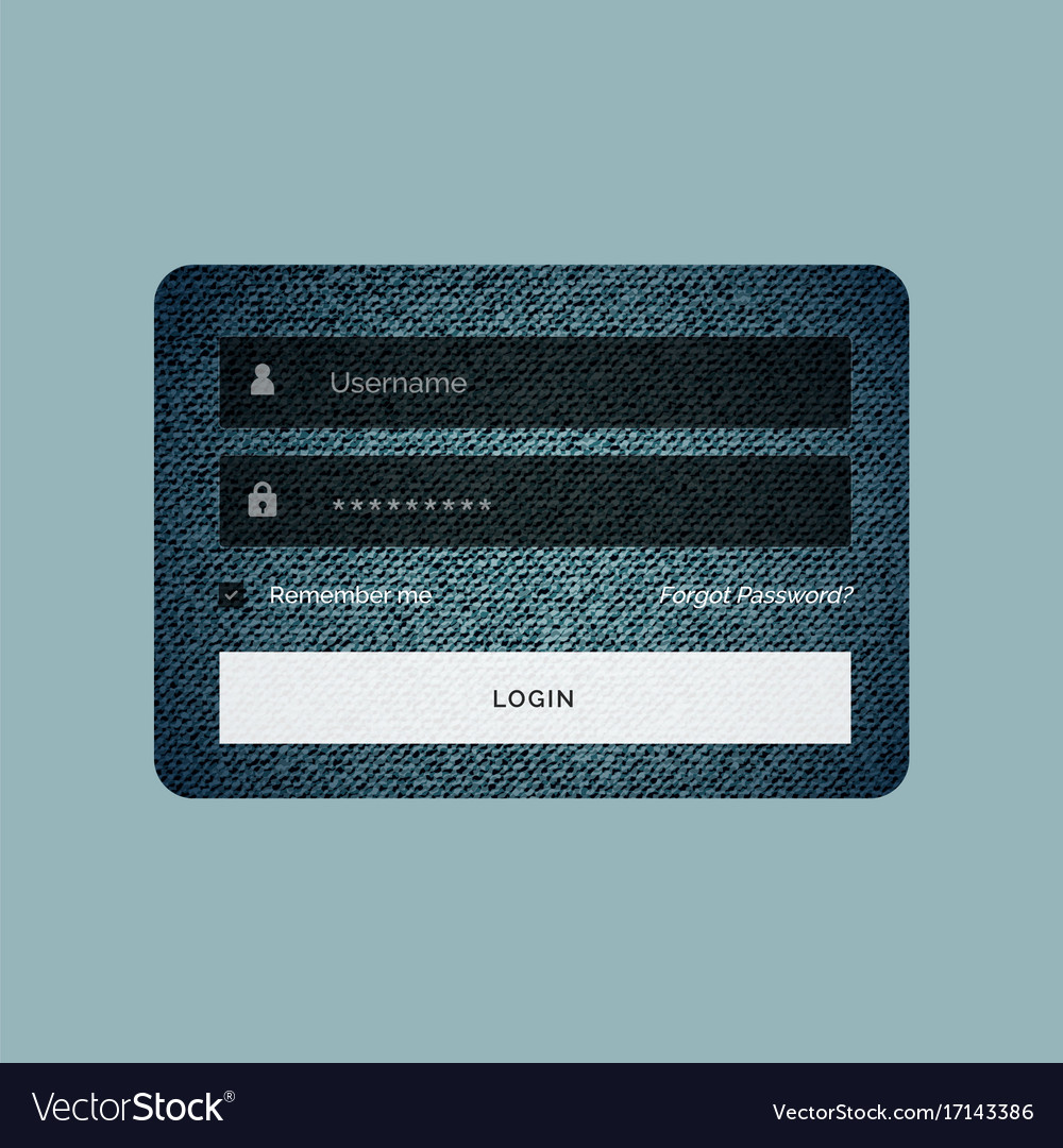 login form template in jeans texture style vector image