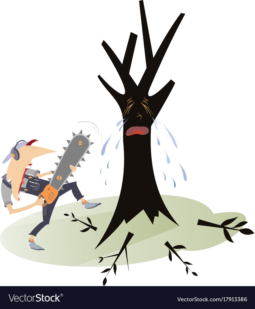 Man with chainsaw and crying tree