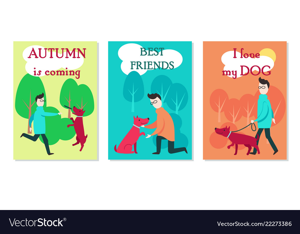 Man with dog cards flat