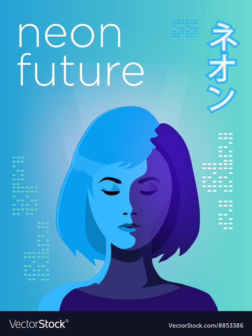 Neon futuristic poster vivid colored