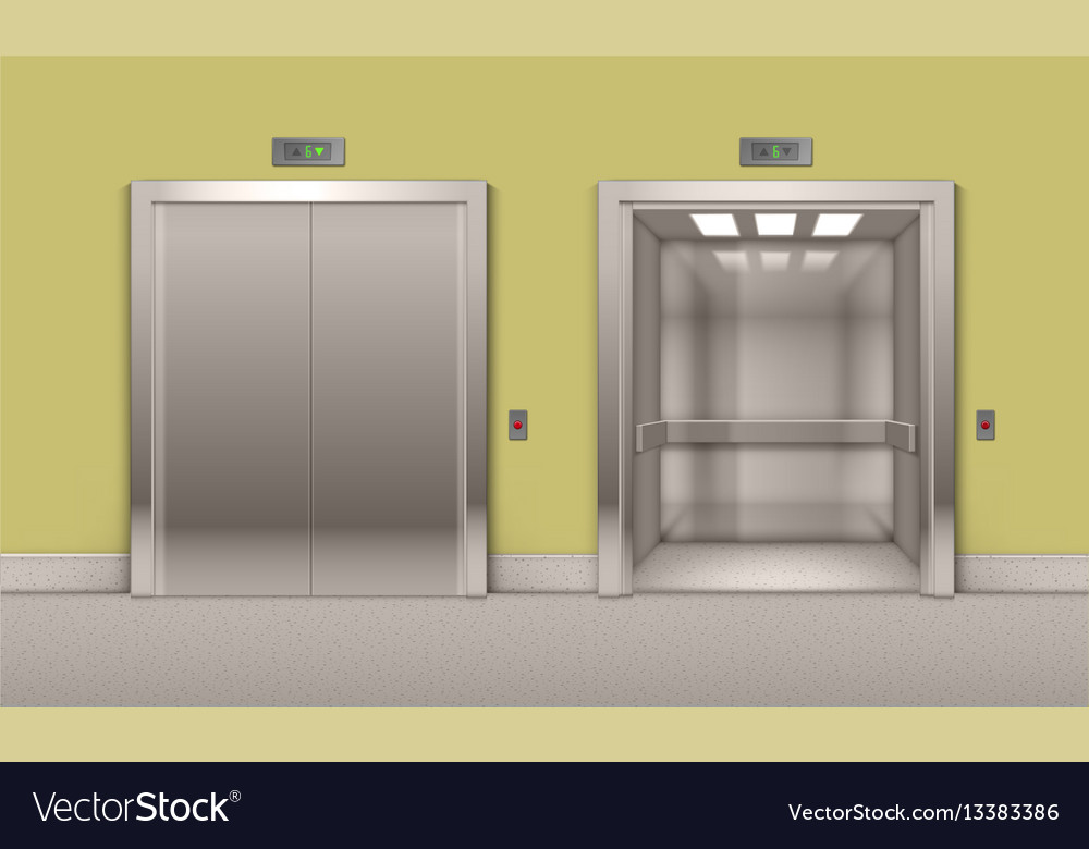 & Open and closed office building elevator doors Vector Image
