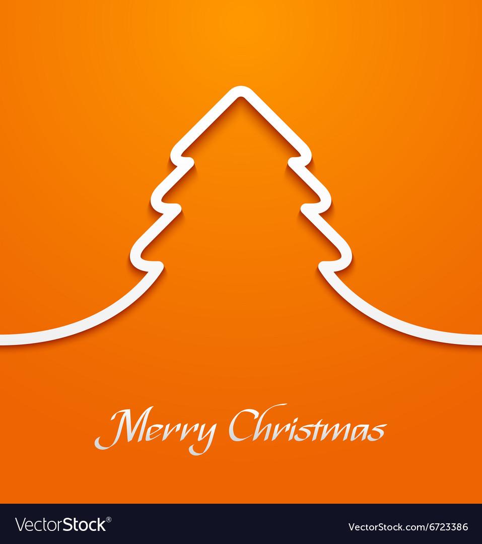 Orange abstract christmas tree applique vector image