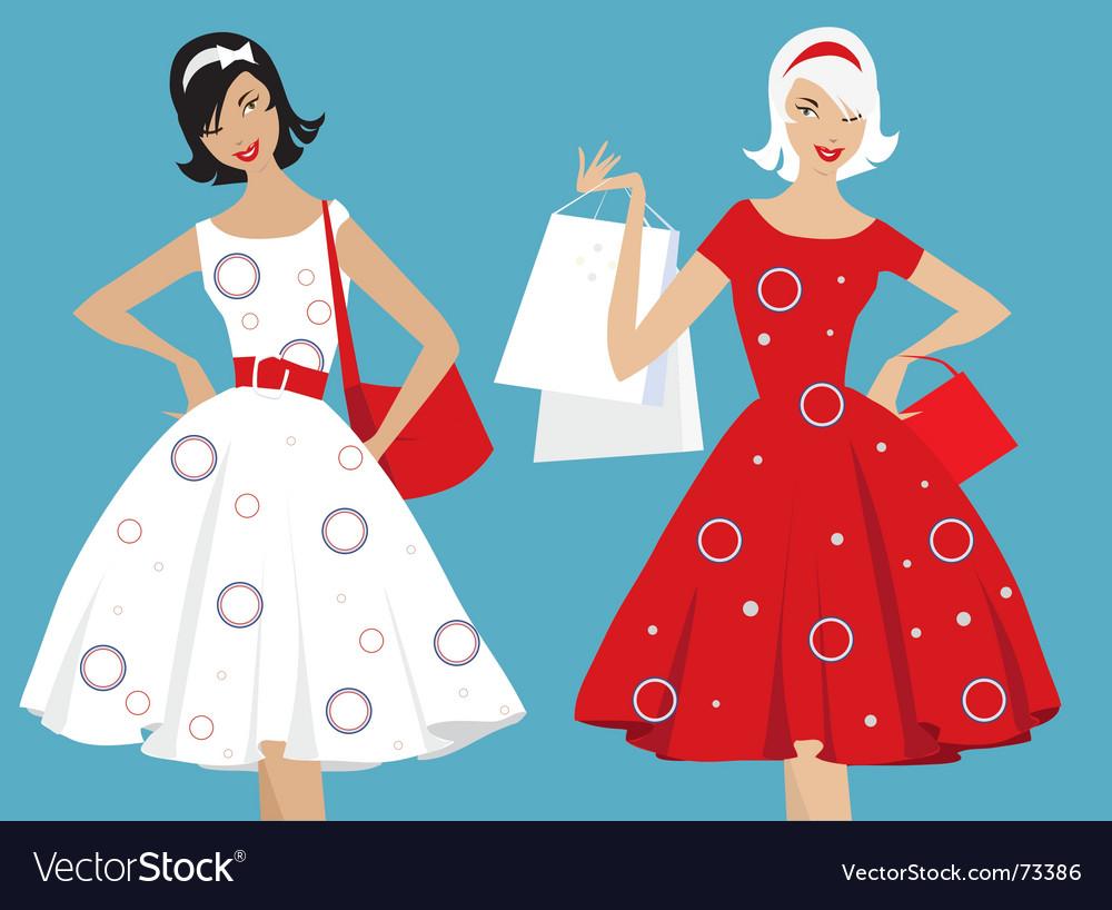 Retro girls shopping