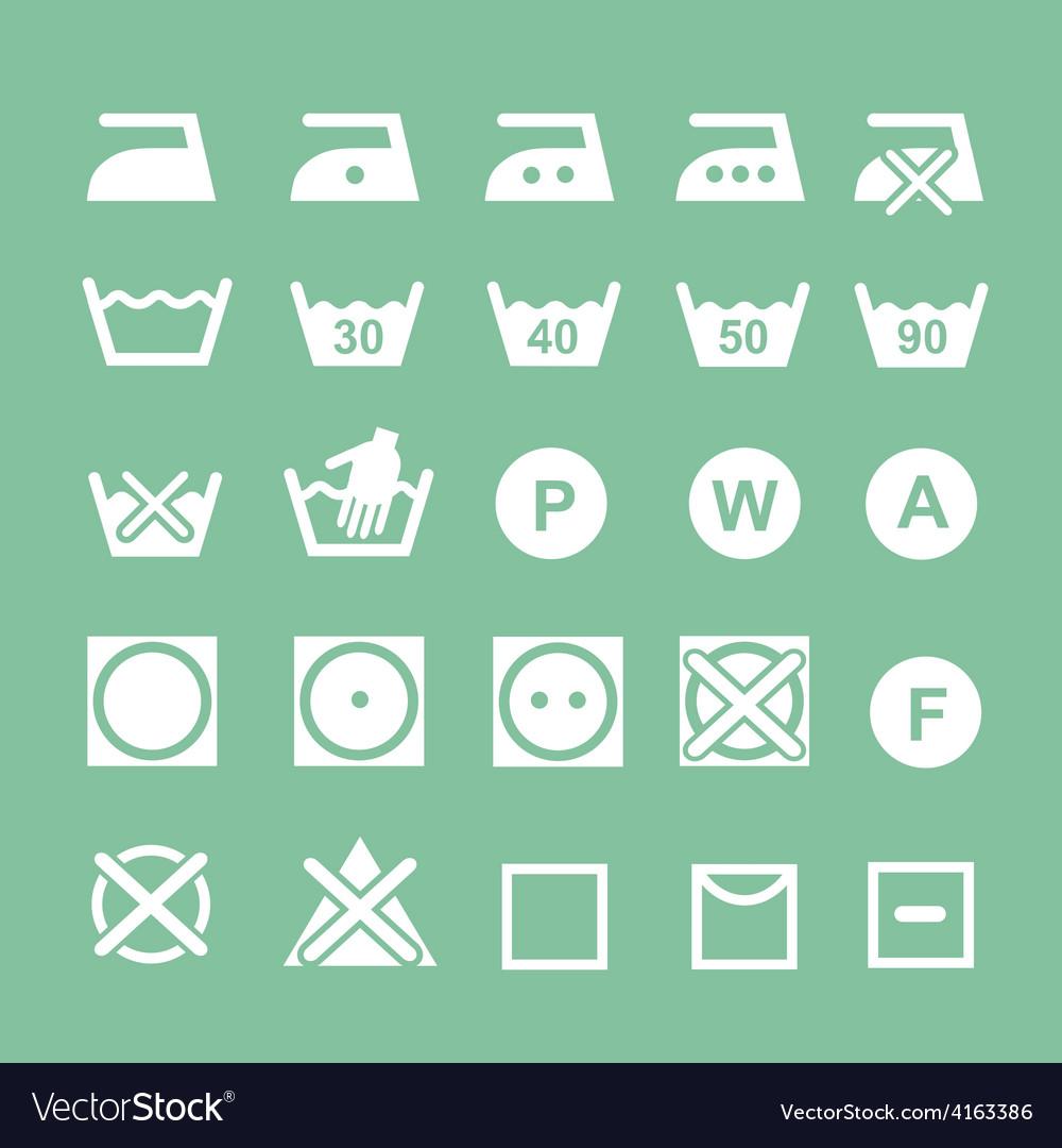 Set of washing symbols Washing instruction