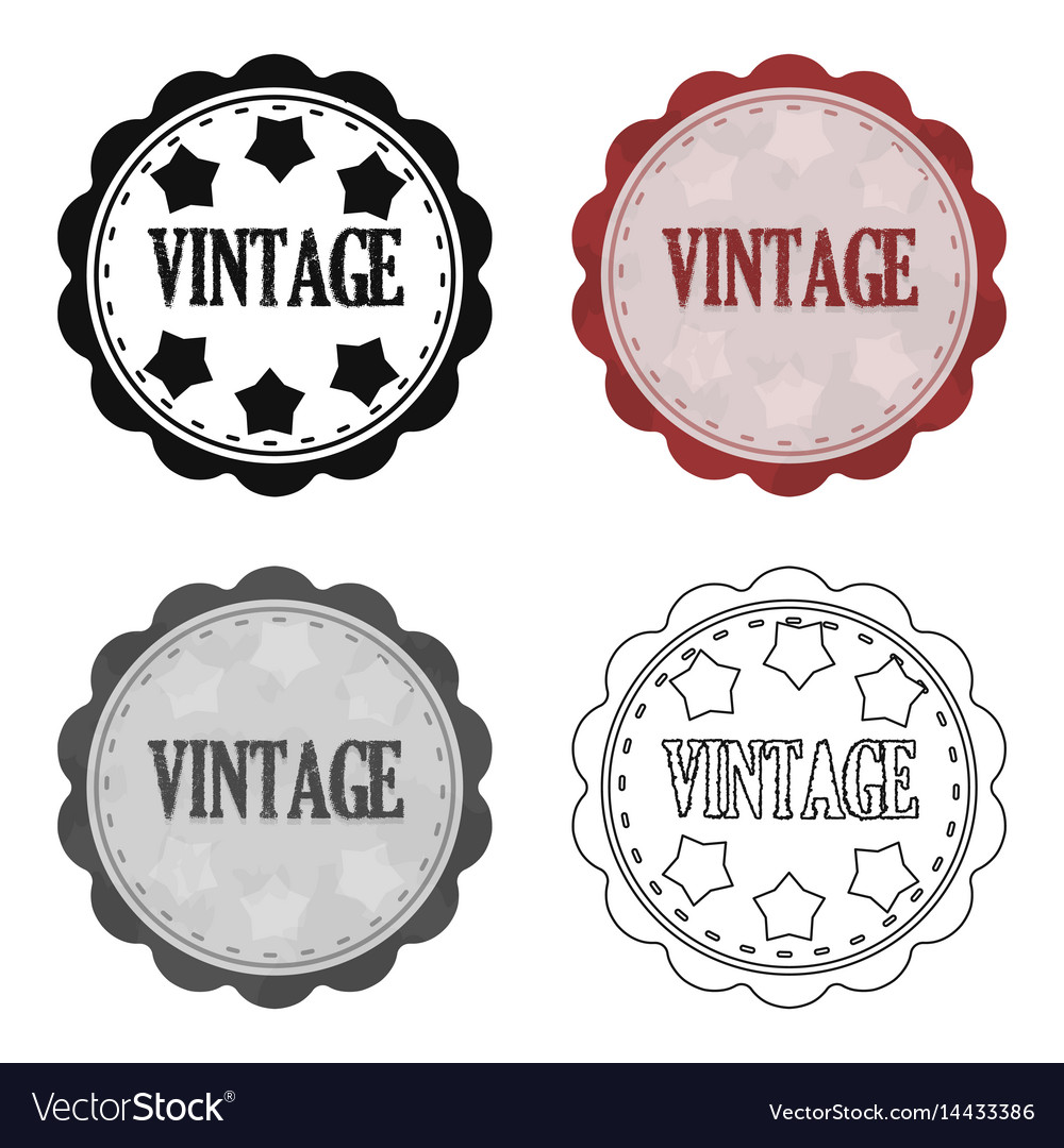 Vintage icon in cartoon style isolated on white