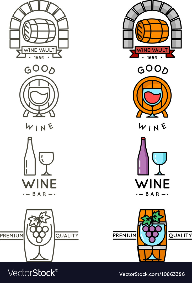 Wine line logo or winery logotype set