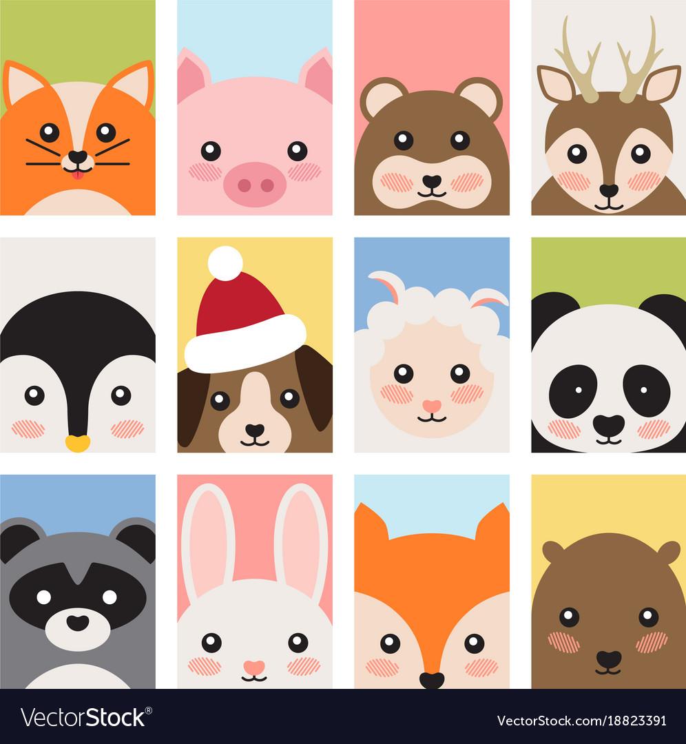Adorable baby animals faces cartoon