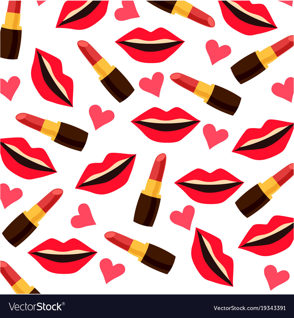 Background with lips lipsticks and hearts vector image
