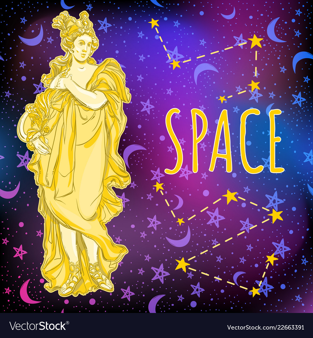 Beautiful greek goddess on space background the