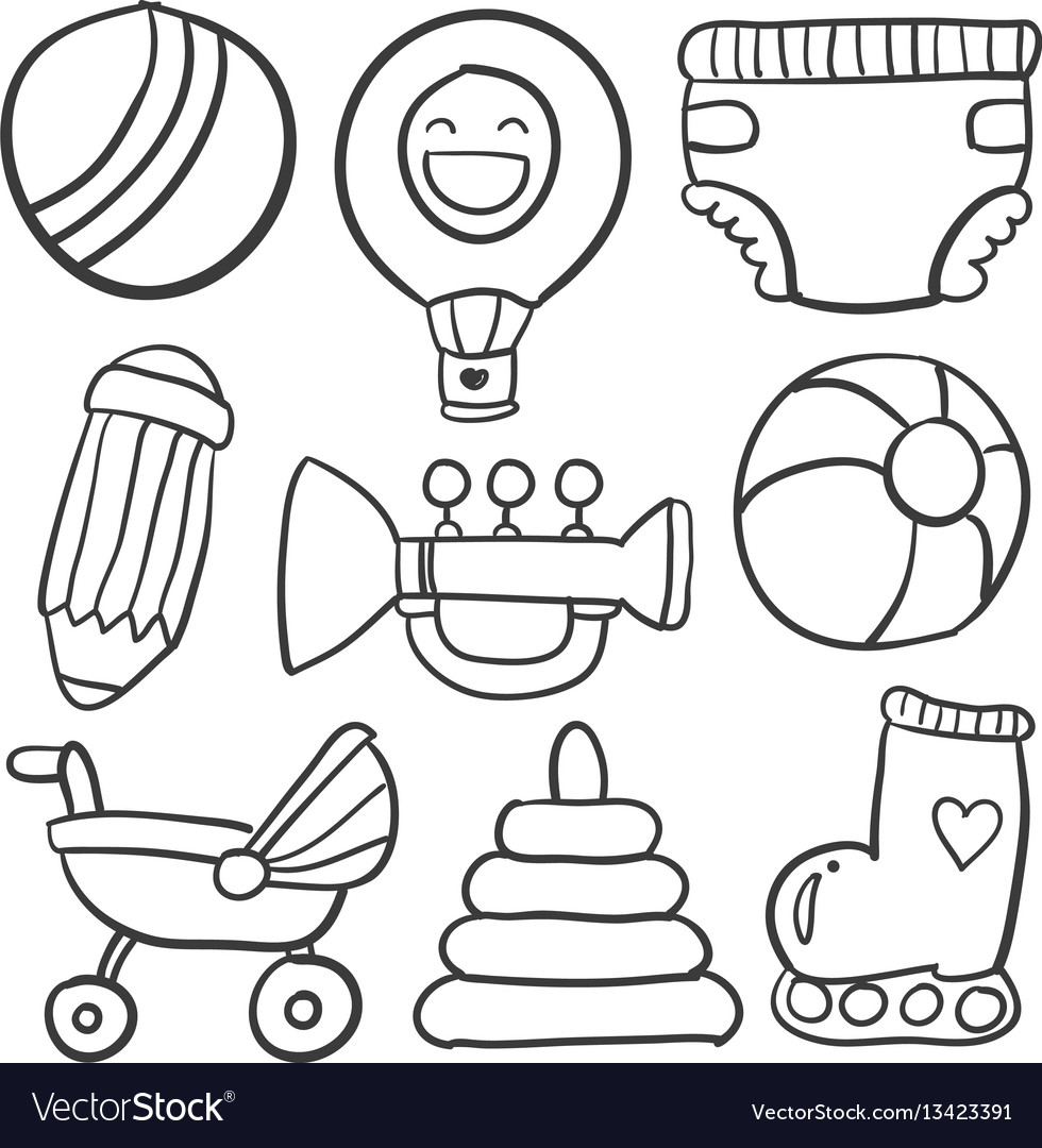Doodle of object baby collection