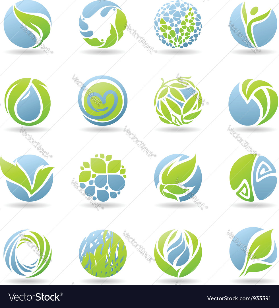 Drops and leaves - logo template set