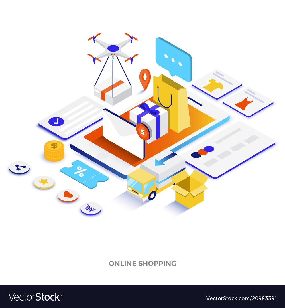 Flat color modern isometric - online shopping