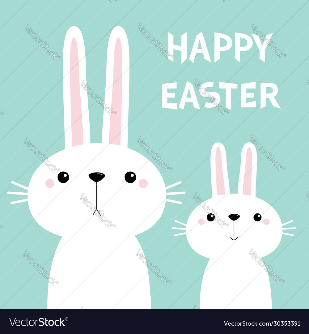 Happy easter two white bunny rabbit set cute