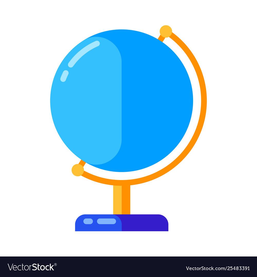 Icon school globe in flat style