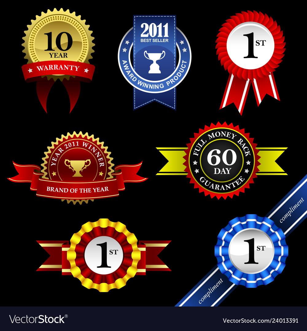 Seal ribbon rosette badge trophy medal banner