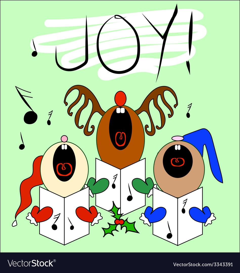 Singing Christmas Carollers Card Design Royalty Free Vector