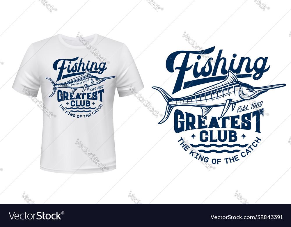 T-shirt print with big marlin fish mascot