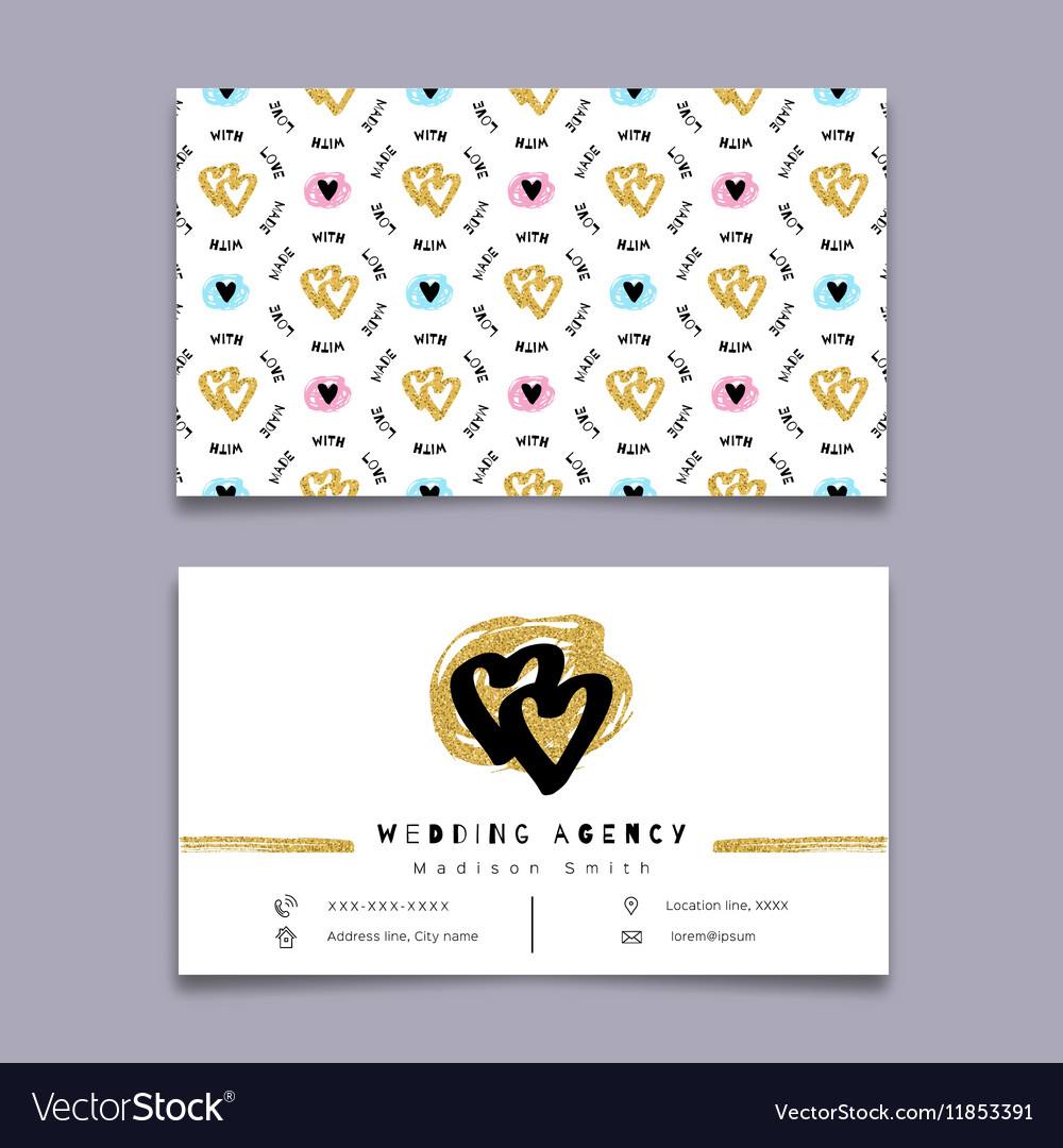 Wedding agency business card event planner Vector Image