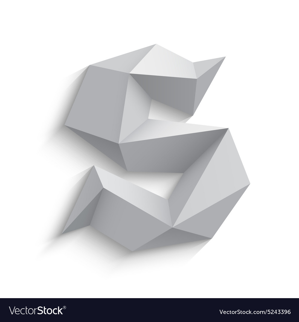 3d letter S on white vector image