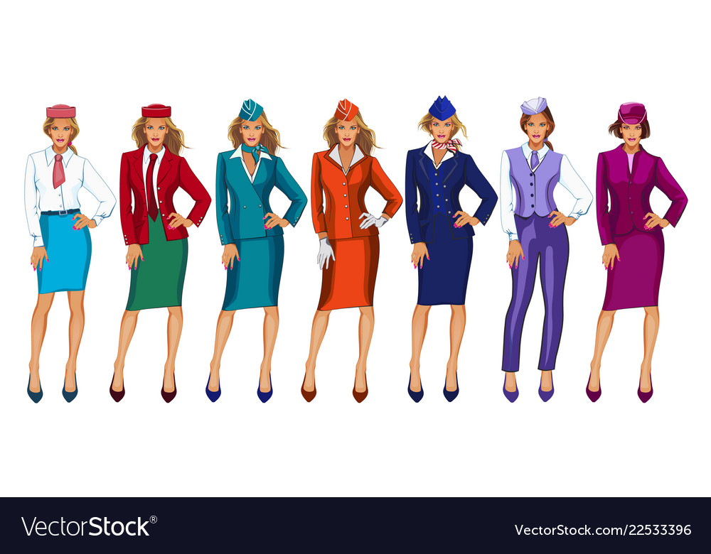 Air hostess in uniform and formal
