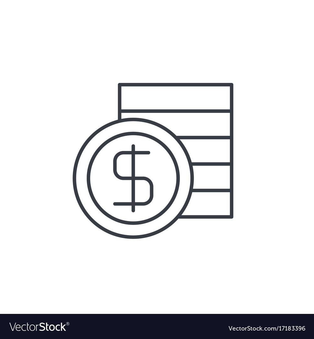 Banking money dollar coins thin line icon