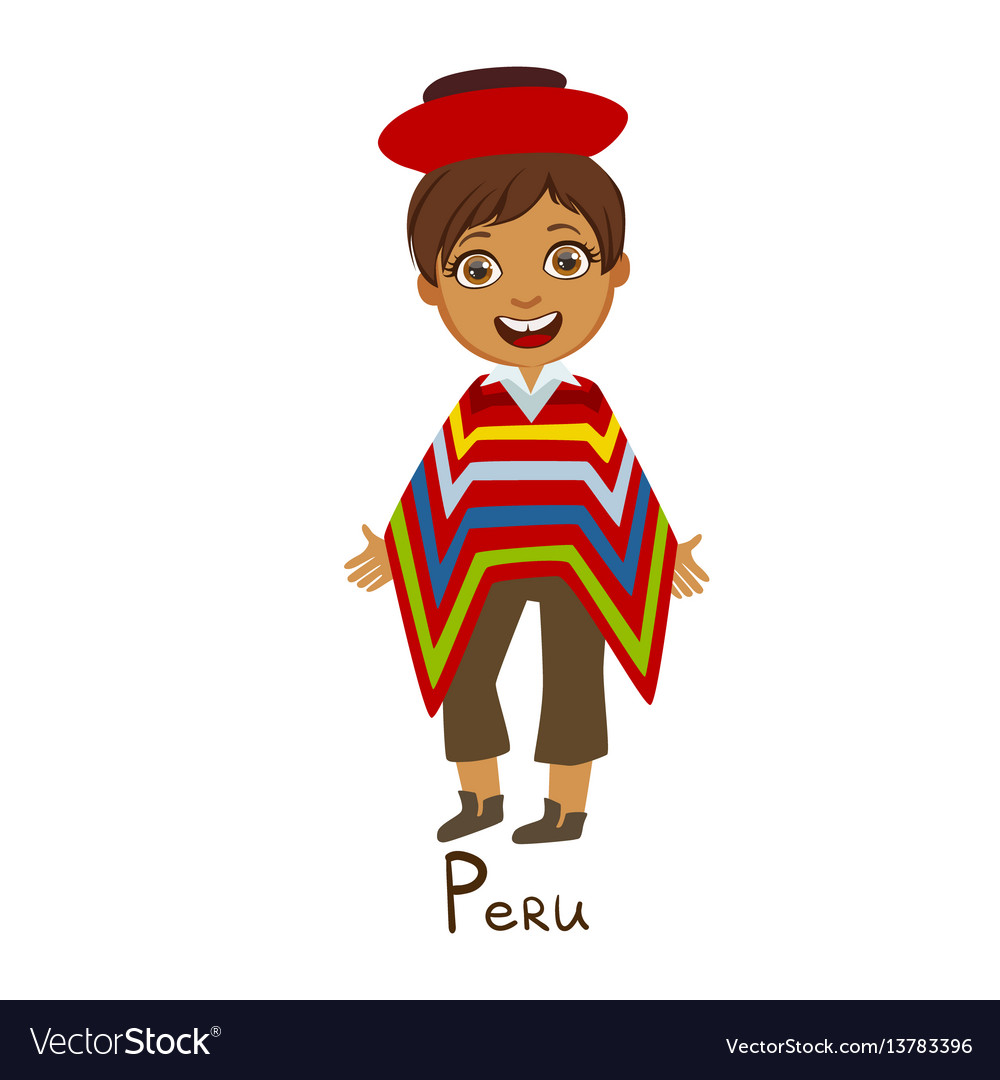 Boy in peru country national clothes wearing