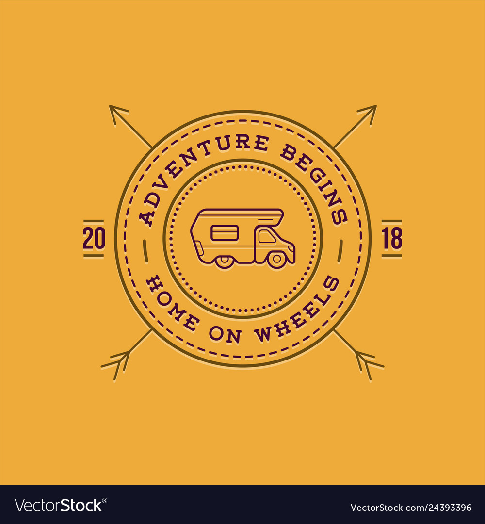 Camper car logo design template home on wheels