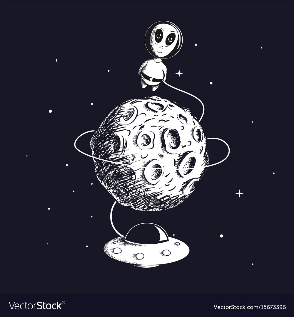 Cute alien flying around the moon with ufo vector image