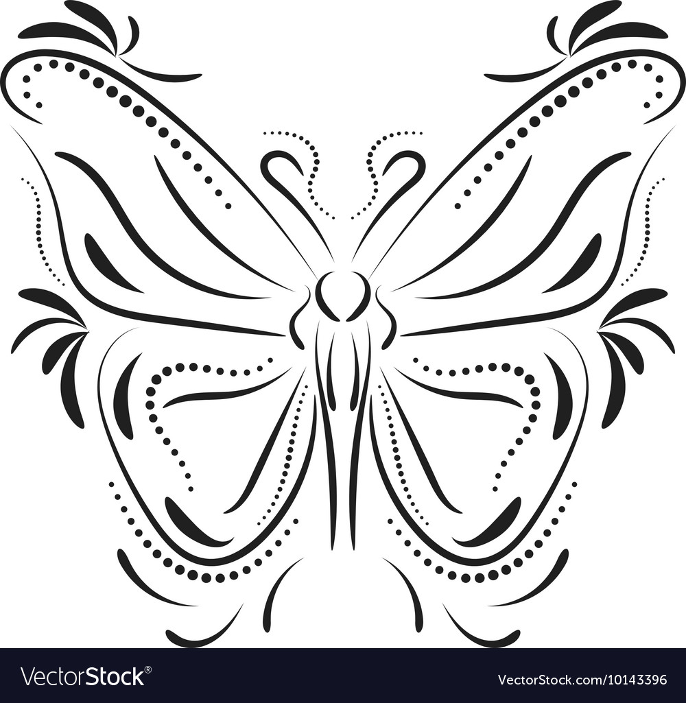 349740a742f95 Decorative butterfly element tattoo Royalty Free Vector