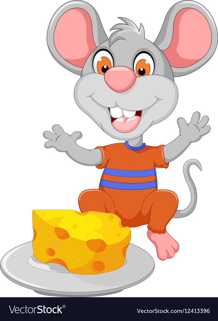 Funny mouse cartoon eating cheese