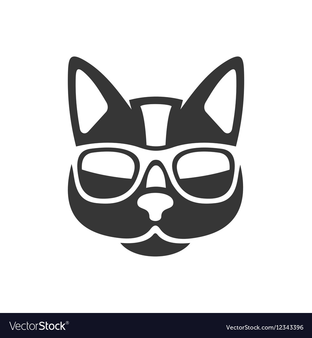 Hipster Cat Icon On White Background Vector Image