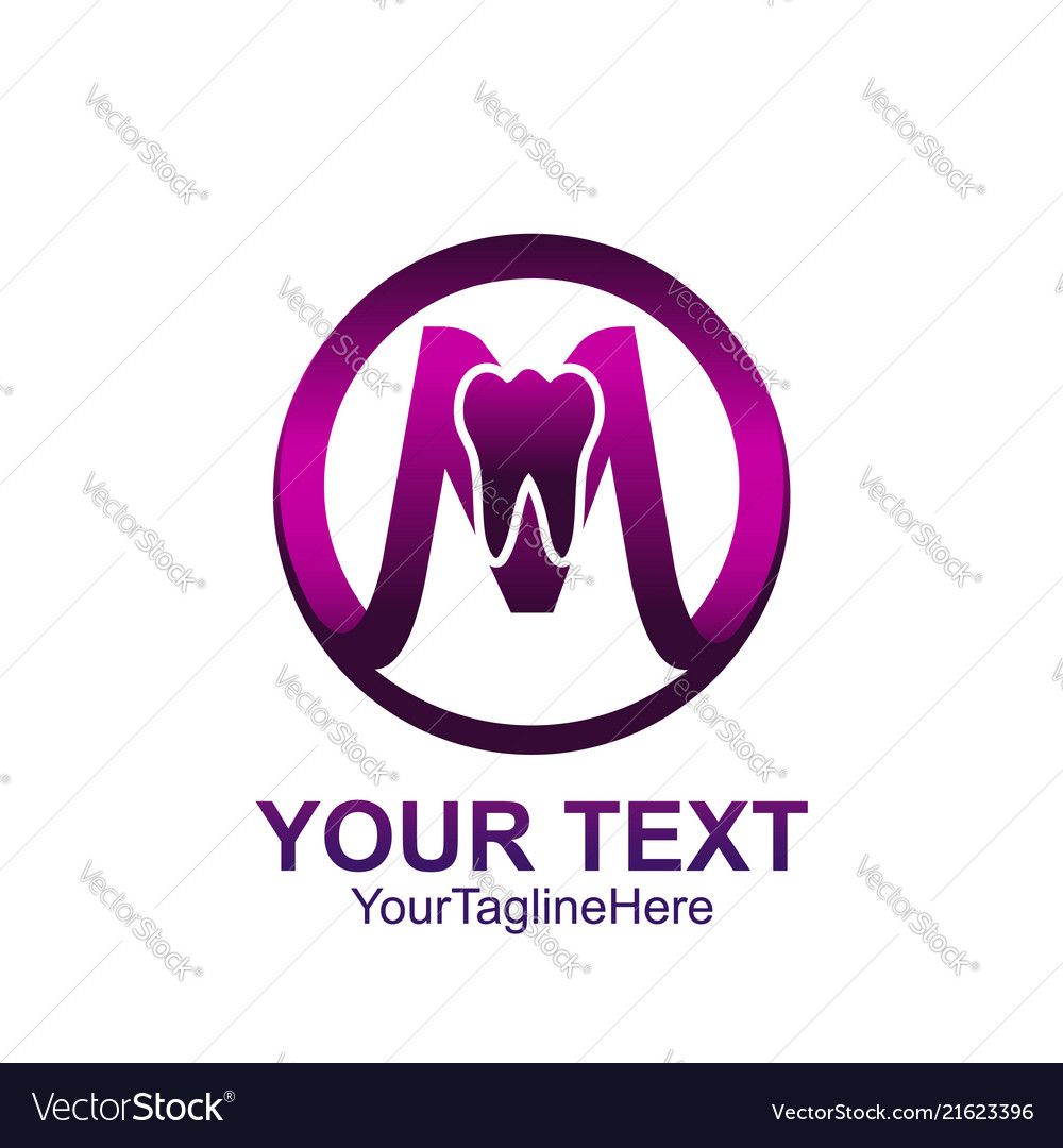 Initial letter m logo template colored purple