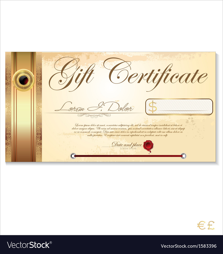 Luxury gift certificate template Royalty Free Vector Image