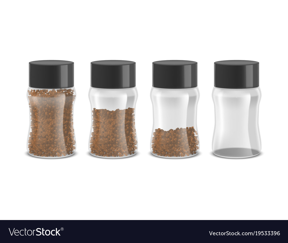 Realistic detailed 3d instant coffee glass jar set