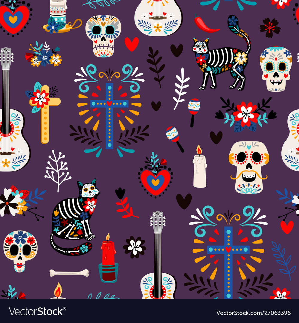 Seamless mexican deadpattern