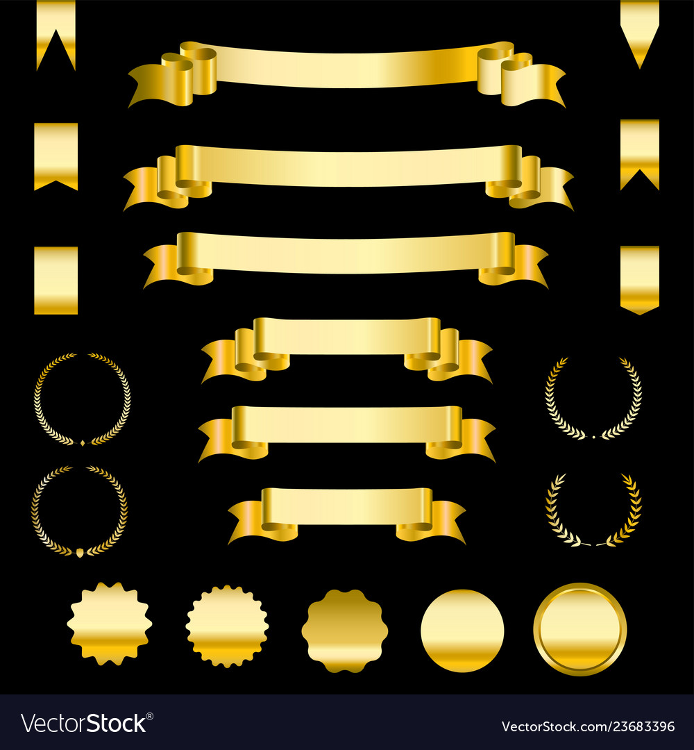 Set of golden ribbons and labels heraldic banners