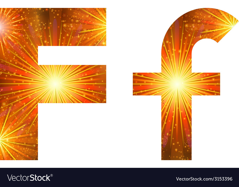Set of letters firework F vector image