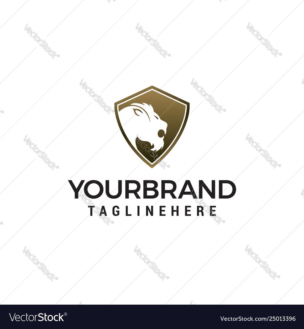 Tiger shield logo design concept template