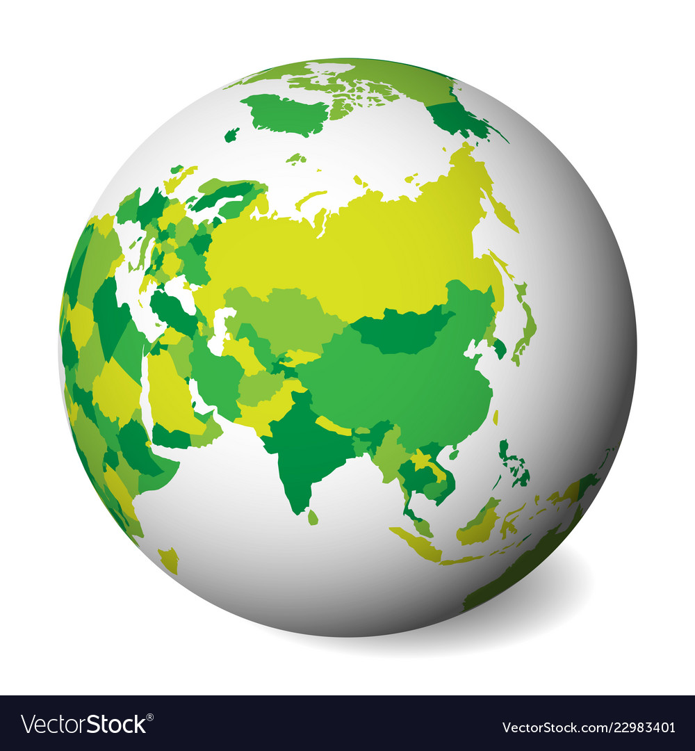 Blank Political Map Of Asia 3d Earth Globe With Vector Image