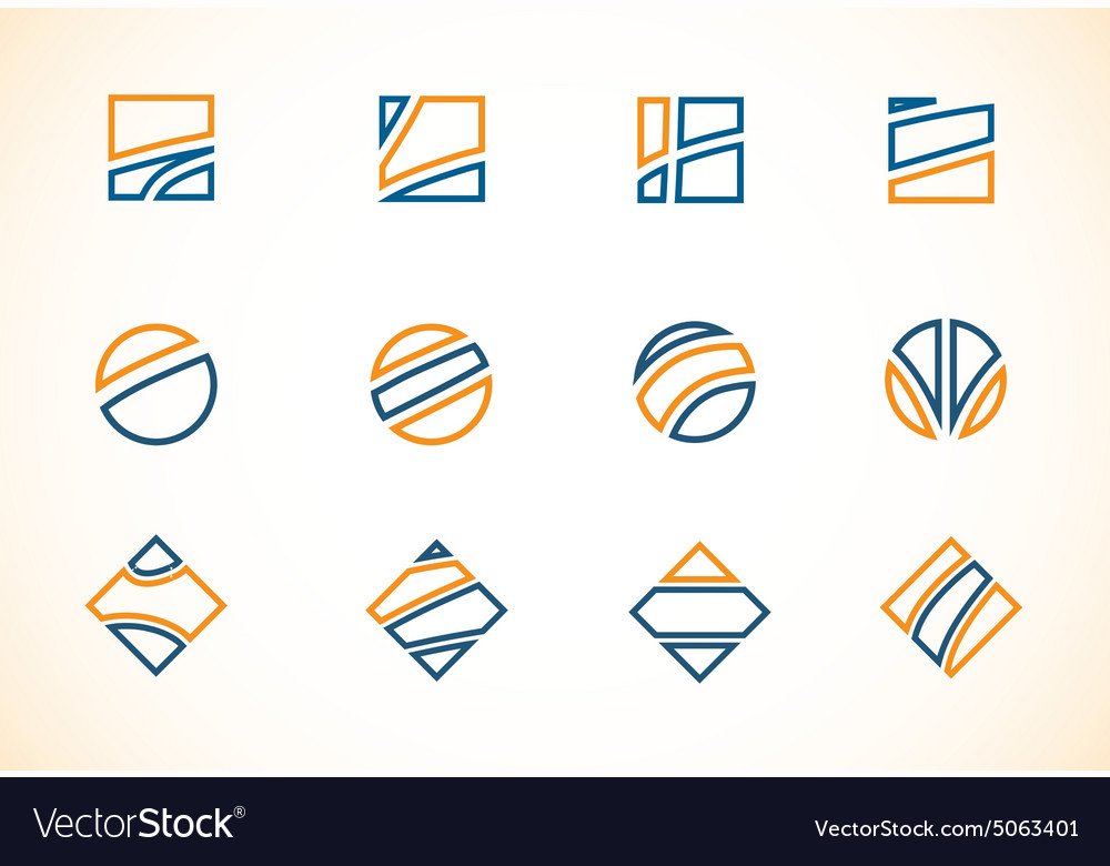 Blue orange logo elements icon set