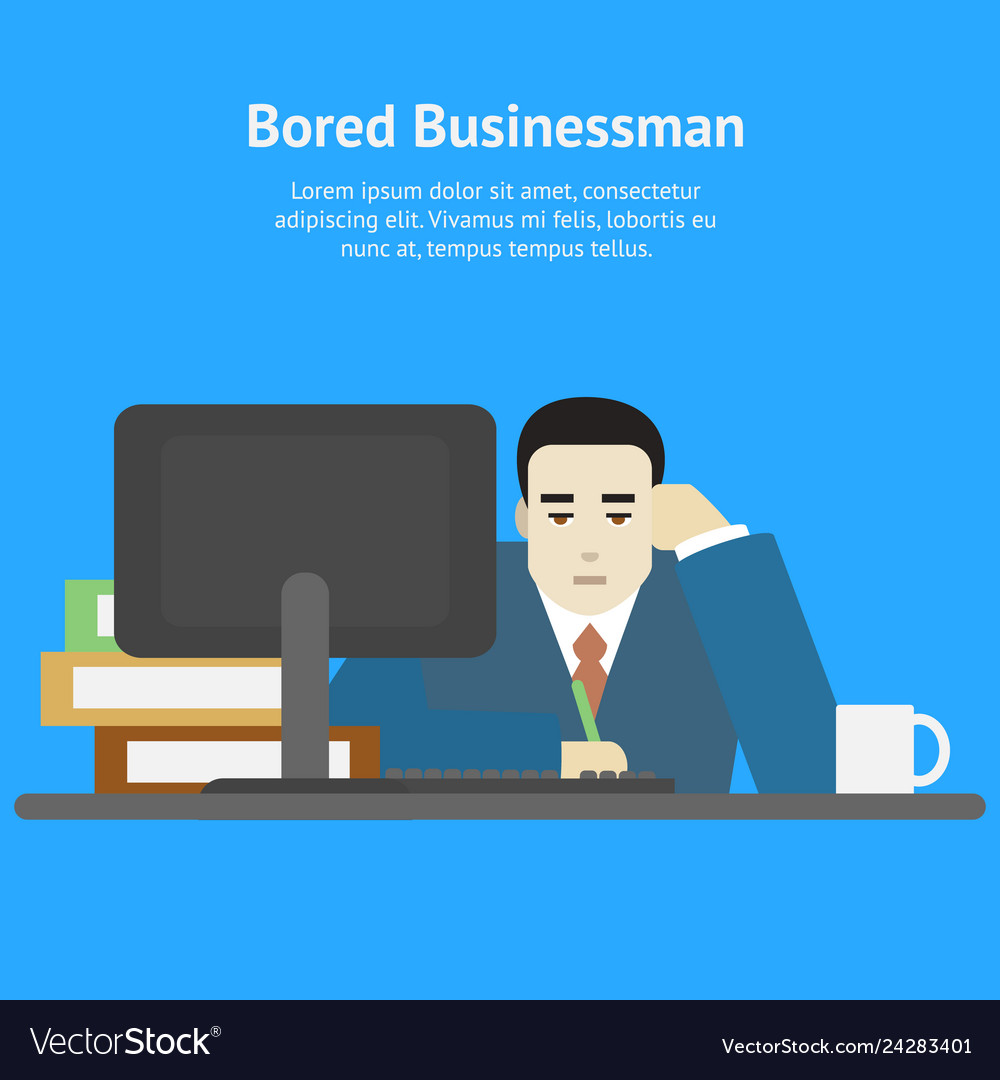 Cartoon businessman bored tired at work character