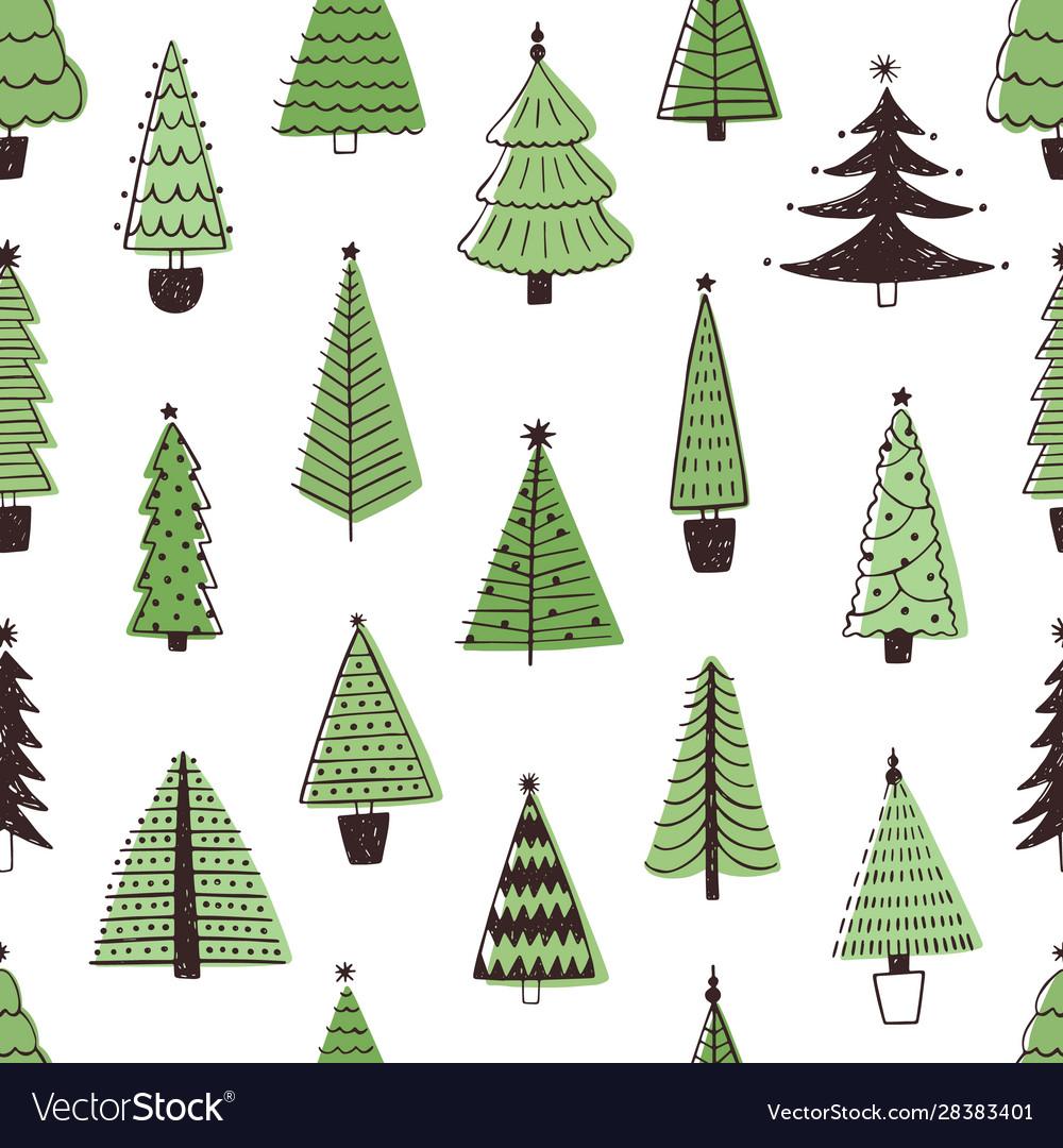 Christmas trees hand drawn seamless pattern