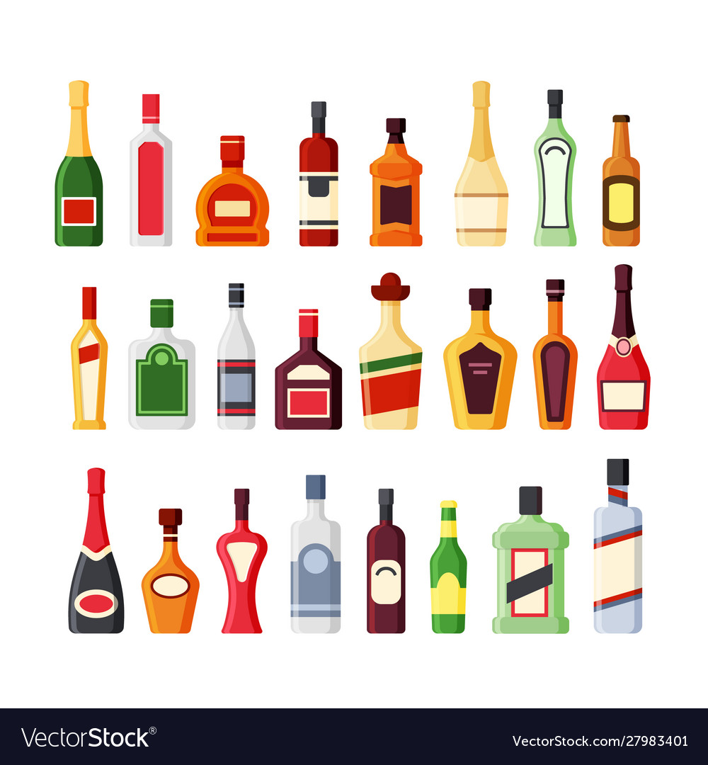 Different alcohol glass bottles flat icons