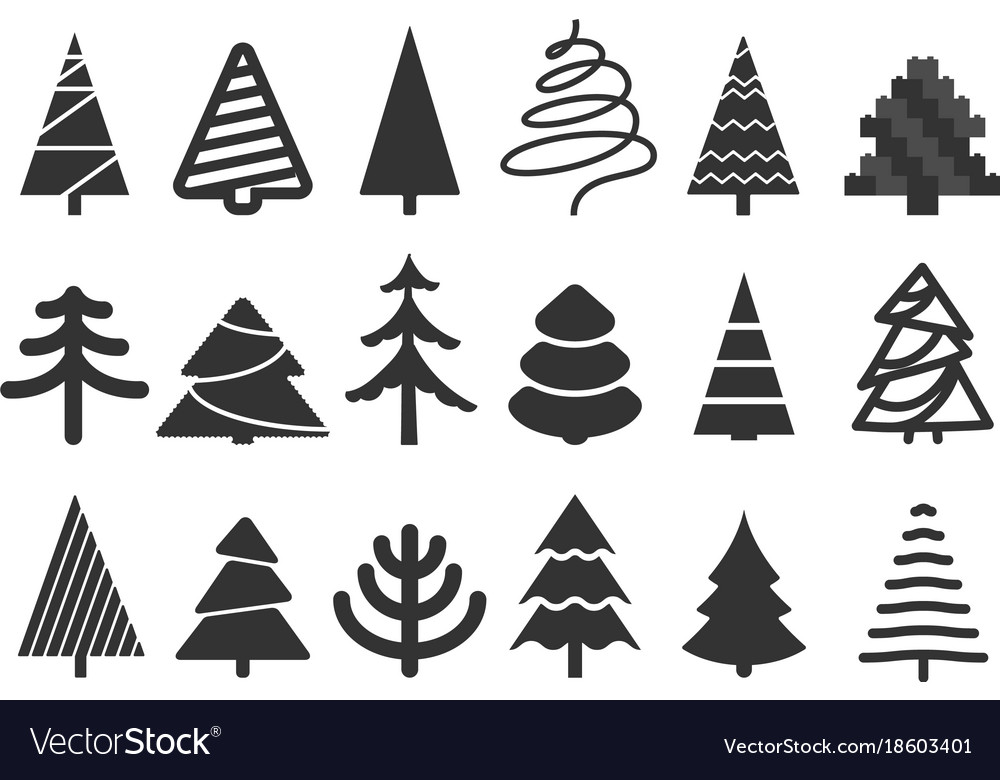 Christmas Tree Clipart Silhouette.Different Christmas Tree Silhouettes Isolated On