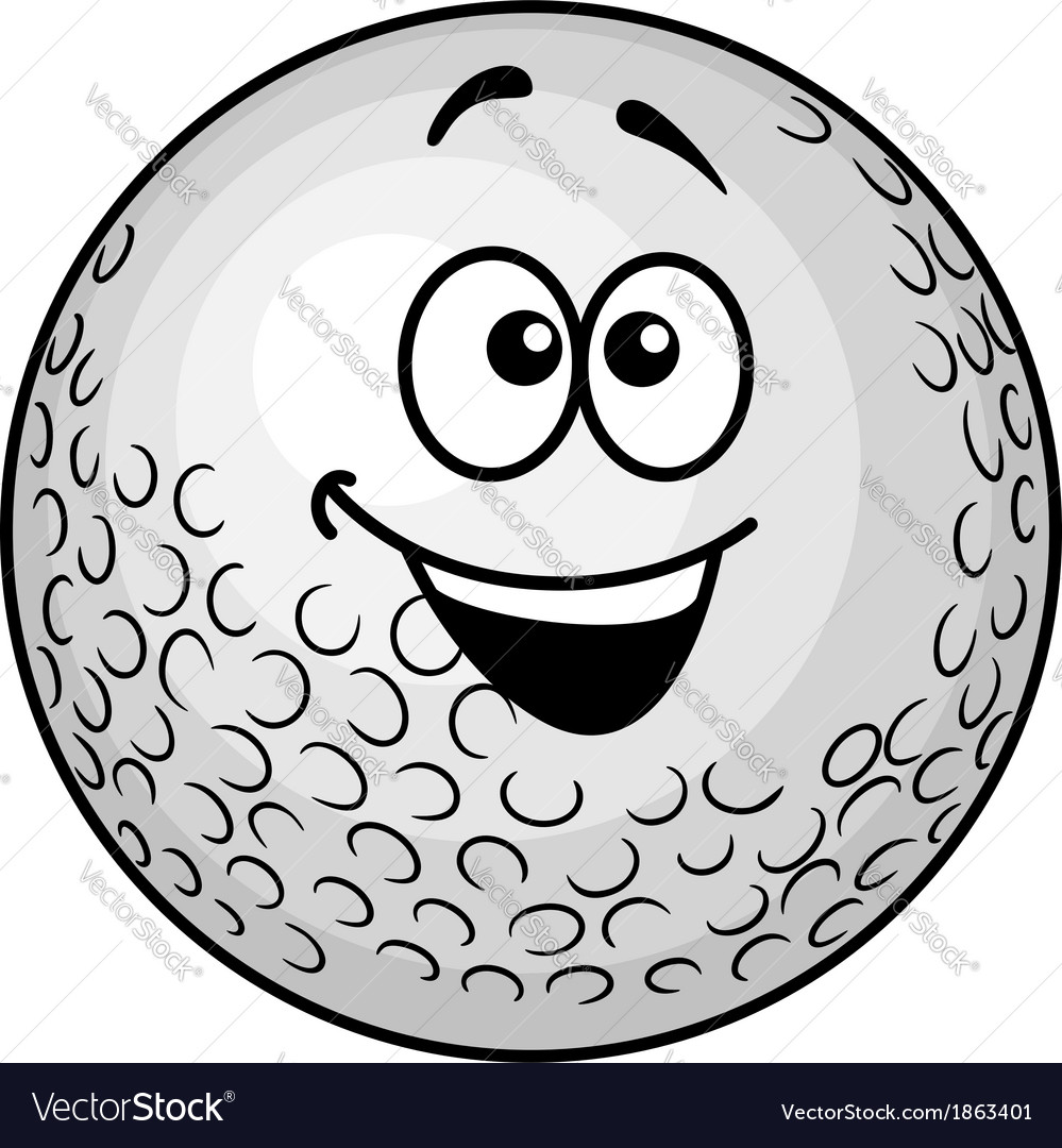 Funny cartoon golf ball