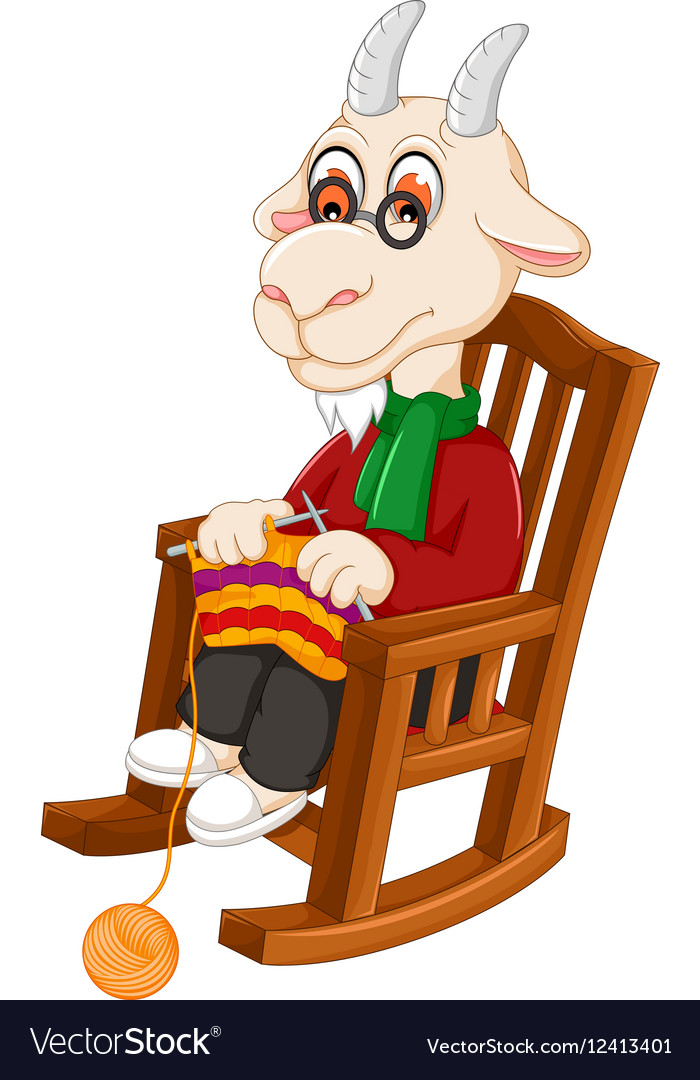 Funny goat cartoon knitting on a rocking chair vector image